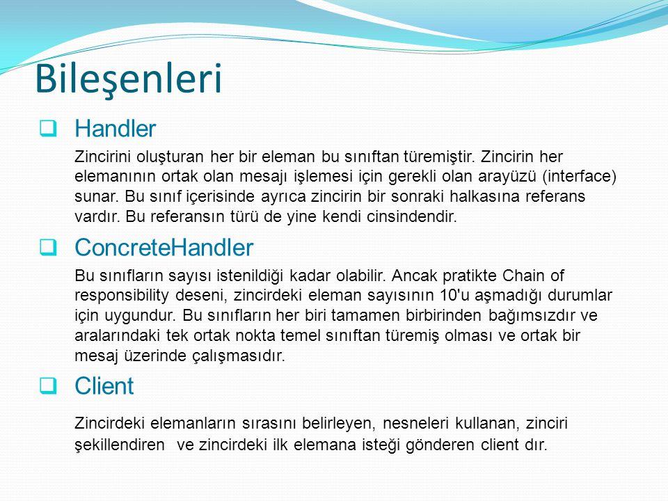 Bileşenleri Handler ConcreteHandler Client