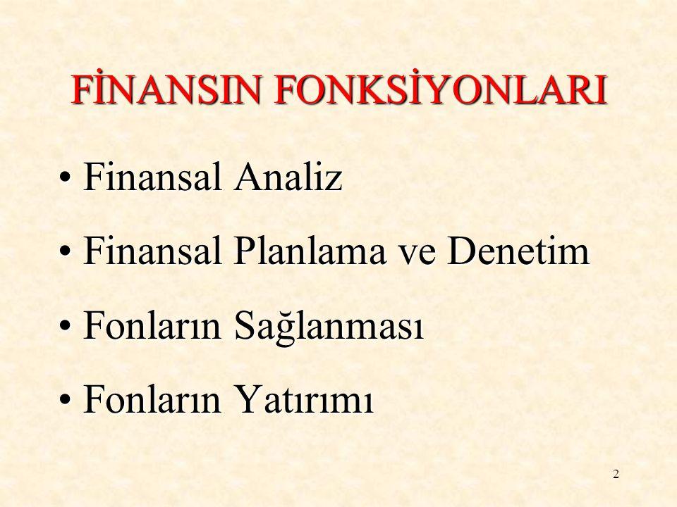 FİNANSIN FONKSİYONLARI