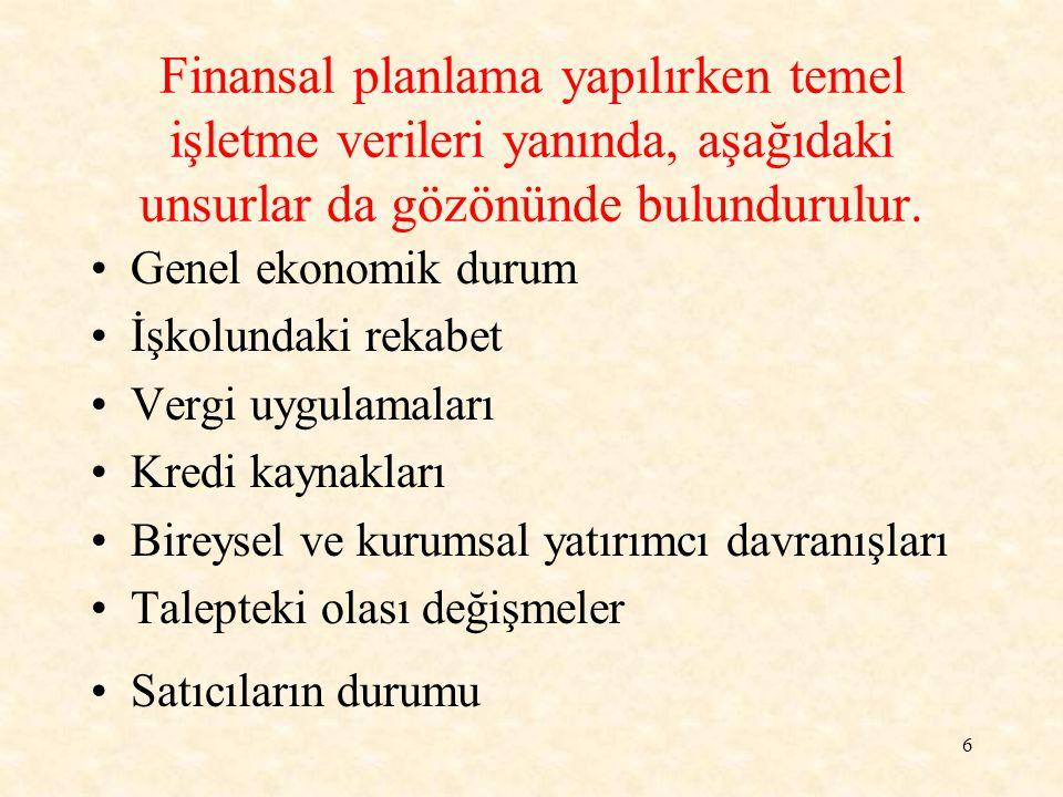 Finansal planlama yapılırken temel işletme verileri yanında, aşağıdaki unsurlar da gözönünde bulundurulur.