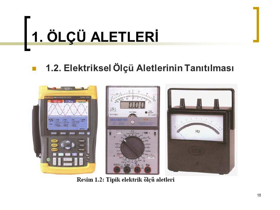 1. ÖLÇÜ ALETLERİ 1.2. Elektriksel Ölçü Aletlerinin Tanıtılması 18