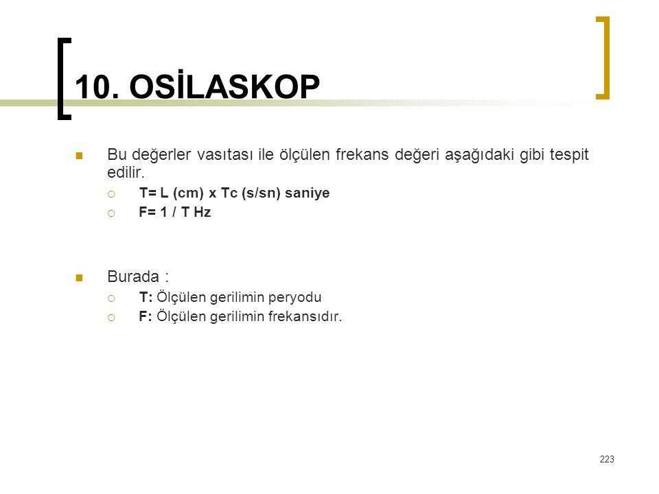 10. OSİLASKOP Bu değerler vasıtası ile ölçülen frekans değeri aşağıdaki gibi tespit edilir. T= L (cm) x Tc (s/sn) saniye.