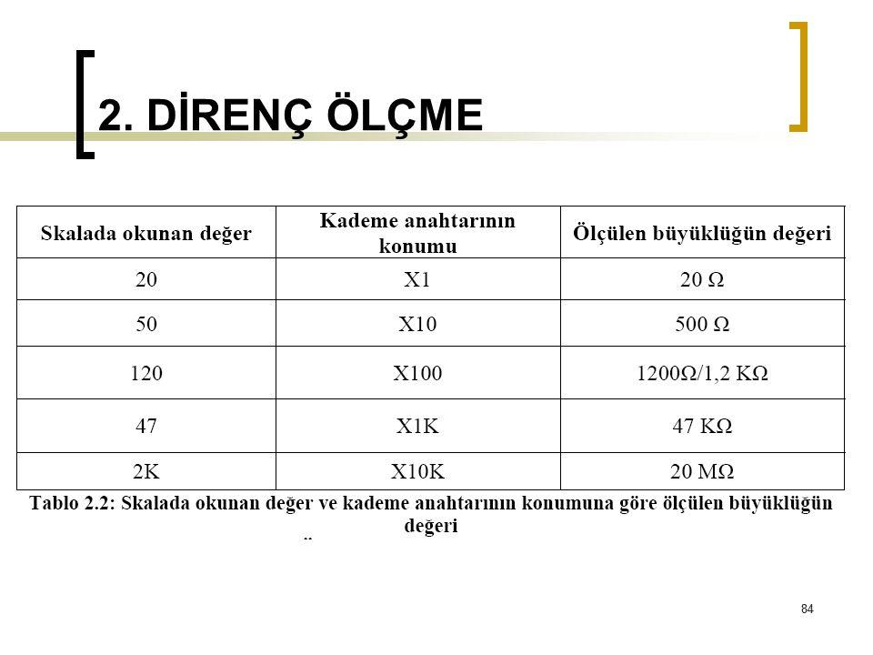 2. DİRENÇ ÖLÇME 84
