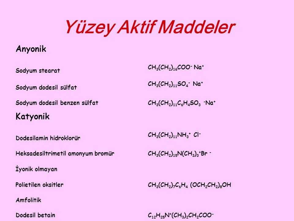 Yüzey Aktif Maddeler Anyonik Katyonik Sodyum stearat