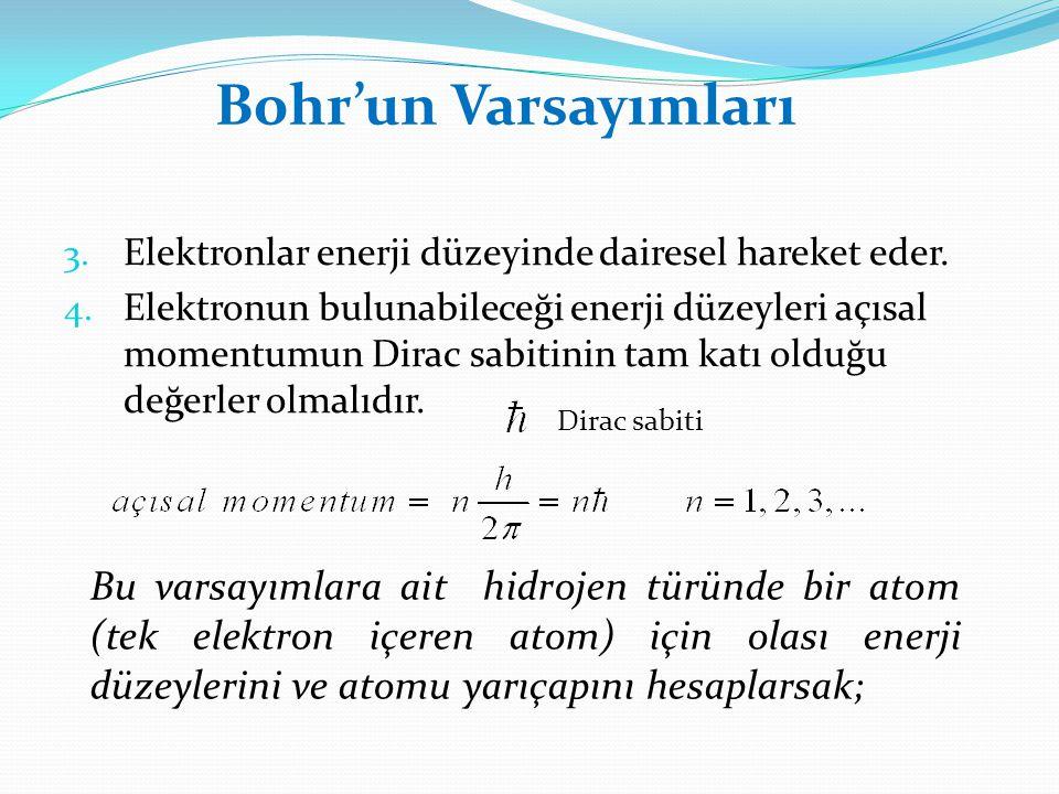 Bohr'un Varsayımları Elektronlar enerji düzeyinde dairesel hareket eder.