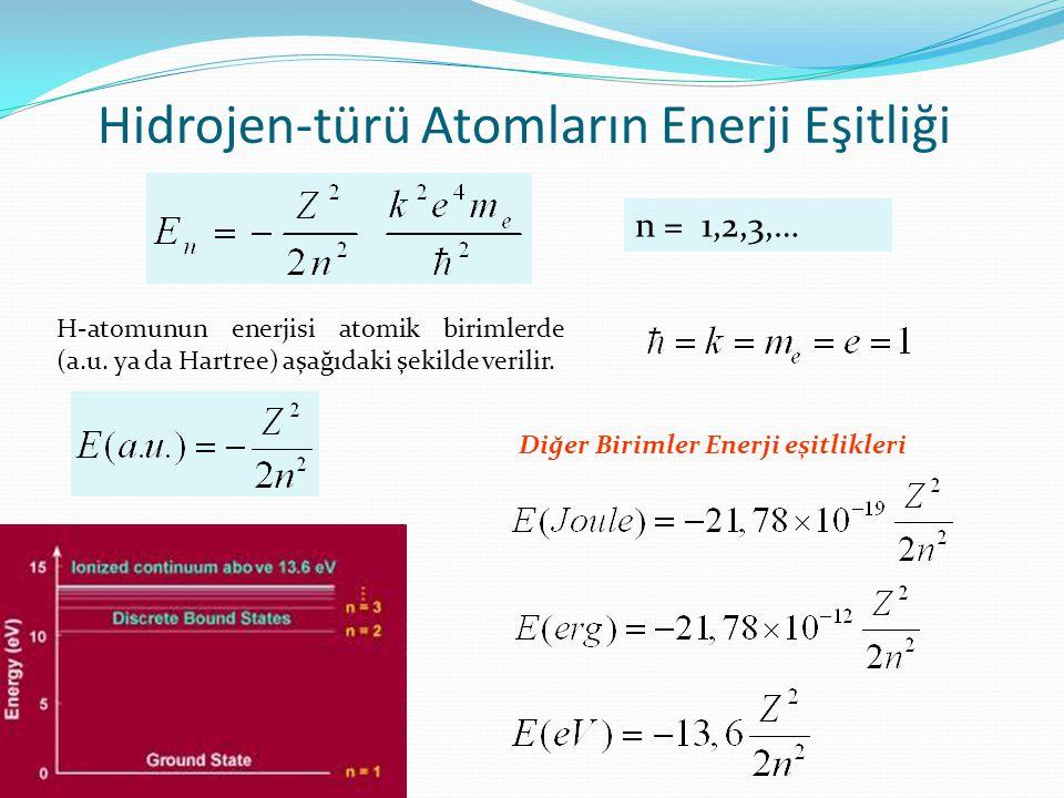 Hidrojen-türü Atomların Enerji Eşitliği