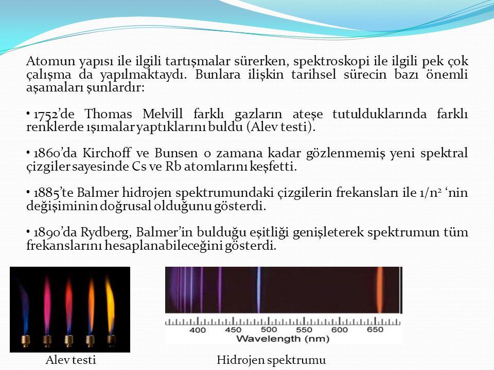 Atomun yapısı ile ilgili tartışmalar sürerken, spektroskopi ile ilgili pek çok çalışma da yapılmaktaydı. Bunlara ilişkin tarihsel sürecin bazı önemli aşamaları şunlardır: