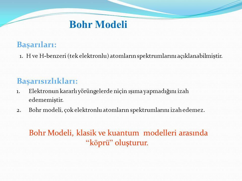 Bohr Modeli, klasik ve kuantum modelleri arasında köprü oluşturur.