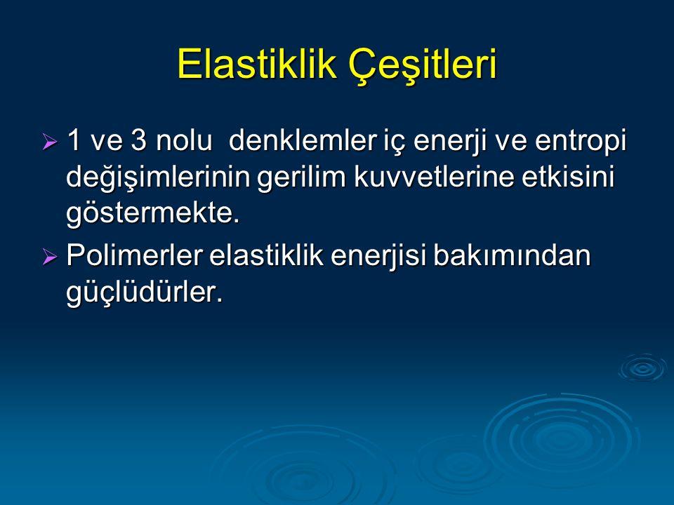 Elastiklik Çeşitleri 1 ve 3 nolu denklemler iç enerji ve entropi değişimlerinin gerilim kuvvetlerine etkisini göstermekte.