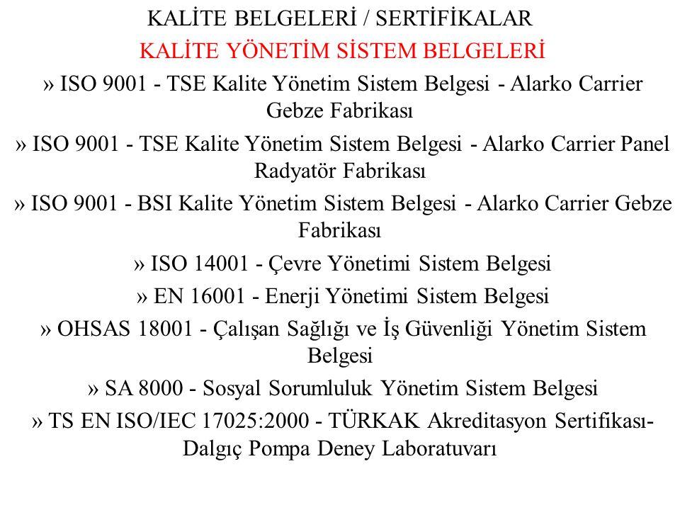 KALİTE BELGELERİ / SERTİFİKALAR KALİTE YÖNETİM SİSTEM BELGELERİ