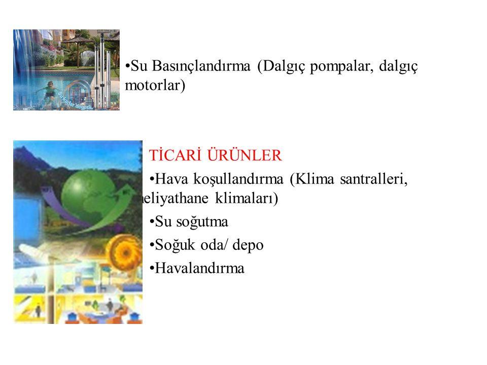 •Su Basınçlandırma (Dalgıç pompalar, dalgıç motorlar)