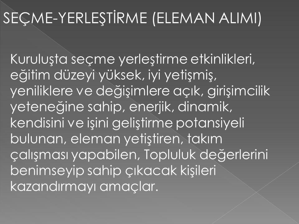 SEÇME-YERLEŞTİRME (ELEMAN ALIMI)