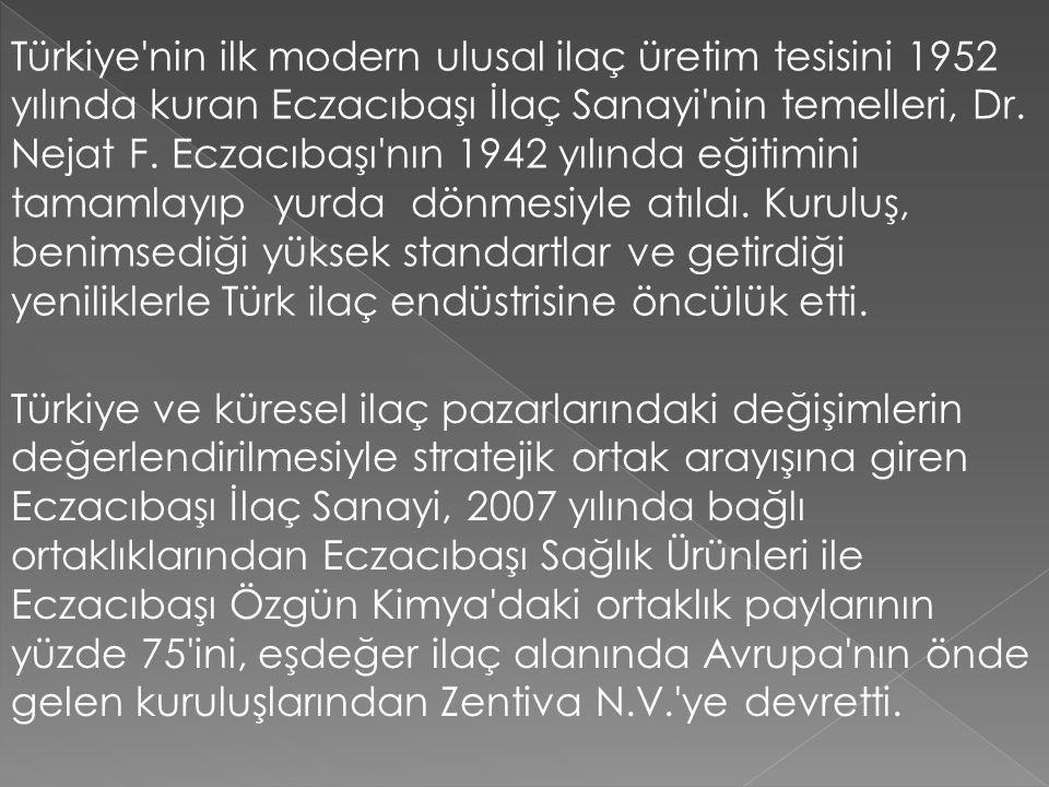 Türkiye nin ilk modern ulusal ilaç üretim tesisini 1952 yılında kuran Eczacıbaşı İlaç Sanayi nin temelleri, Dr. Nejat F. Eczacıbaşı nın 1942 yılında eğitimini tamamlayıp yurda dönmesiyle atıldı. Kuruluş, benimsediği yüksek standartlar ve getirdiği yeniliklerle Türk ilaç endüstrisine öncülük etti.
