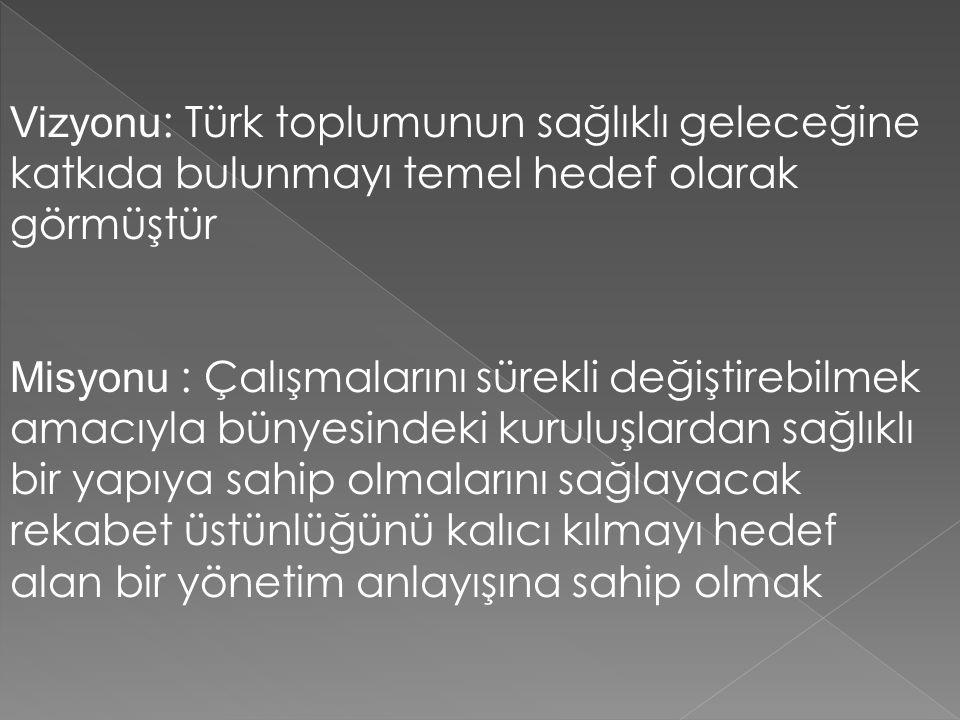 Vizyonu: Türk toplumunun sağlıklı geleceğine katkıda bulunmayı temel hedef olarak görmüştür