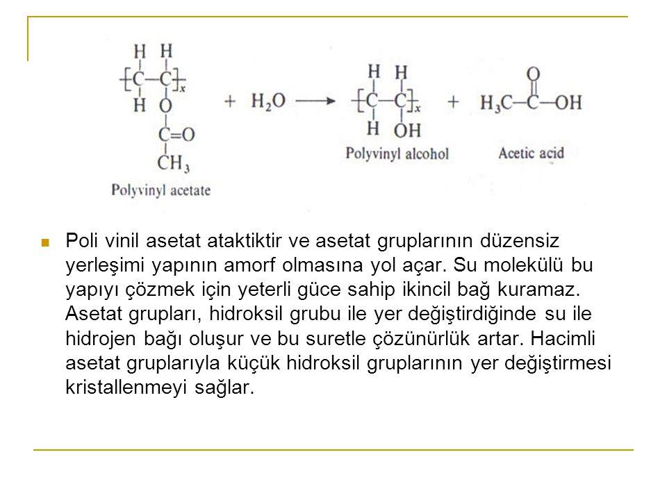 Poli vinil asetat ataktiktir ve asetat gruplarının düzensiz yerleşimi yapının amorf olmasına yol açar.