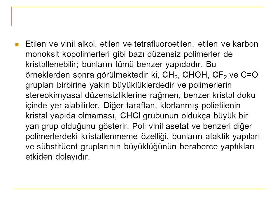 Etilen ve vinil alkol, etilen ve tetrafluoroetilen, etilen ve karbon monoksit kopolimerleri gibi bazı düzensiz polimerler de kristallenebilir; bunların tümü benzer yapıdadır.