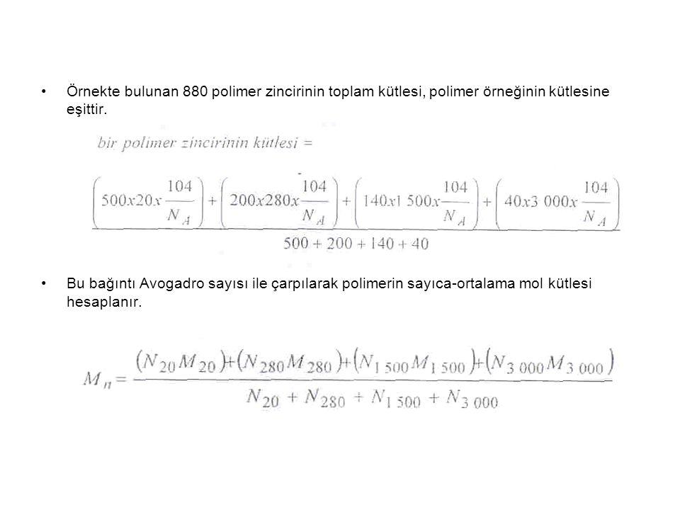 Örnekte bulunan 880 polimer zincirinin toplam kütlesi, polimer örneğinin kütlesine eşittir.