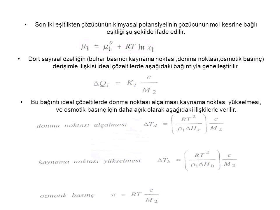 Son iki eşitlikten çözücünün kimyasal potansiyelinin çözücünün mol kesrine bağlı eşitliği şu şekilde ifade edilir.