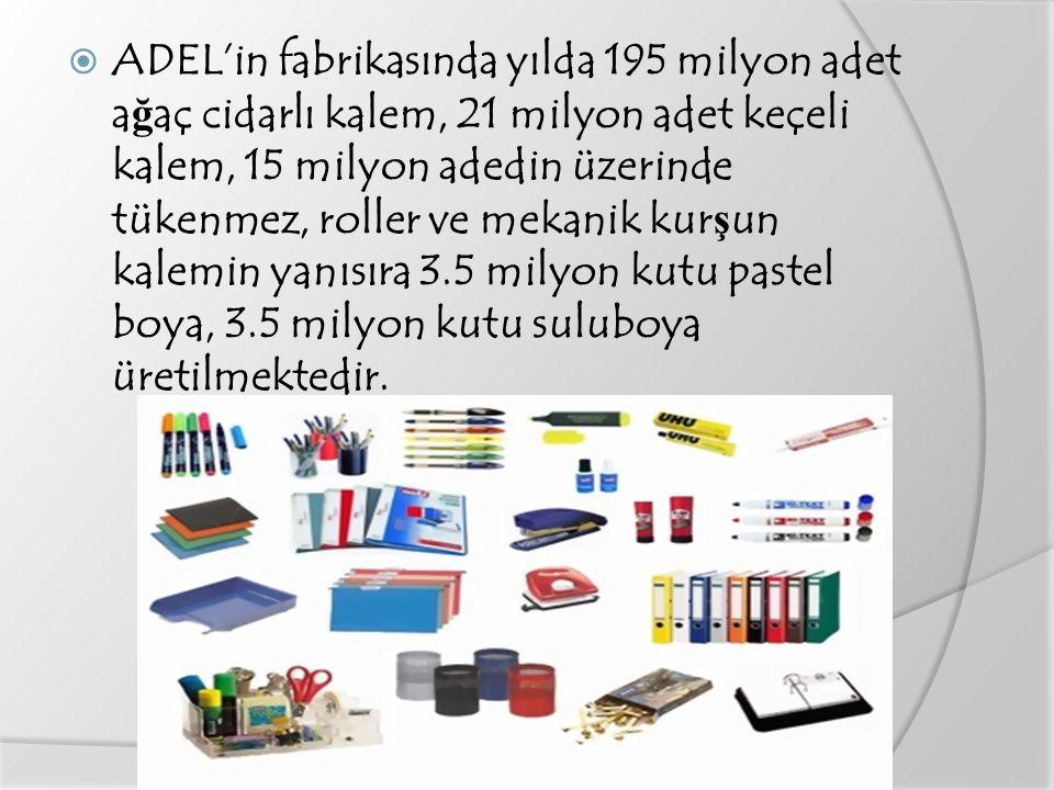 ADEL'in fabrikasında yılda 195 milyon adet ağaç cidarlı kalem, 21 milyon adet keçeli kalem, 15 milyon adedin üzerinde tükenmez, roller ve mekanik kurşun kalemin yanısıra 3.5 milyon kutu pastel boya, 3.5 milyon kutu suluboya üretilmektedir.