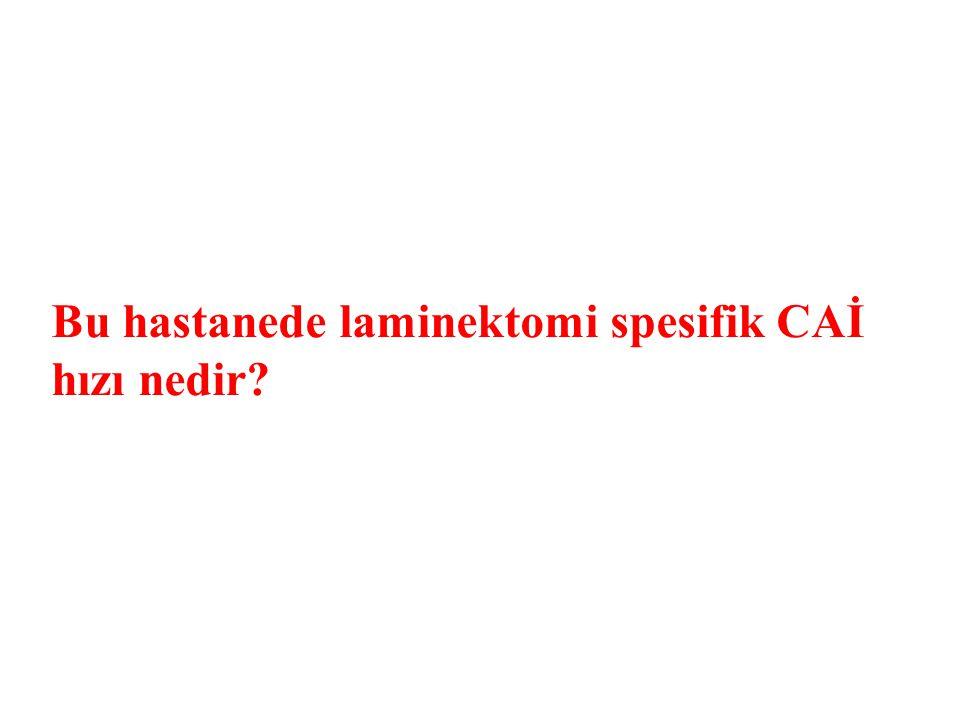 Bu hastanede laminektomi spesifik CAİ hızı nedir