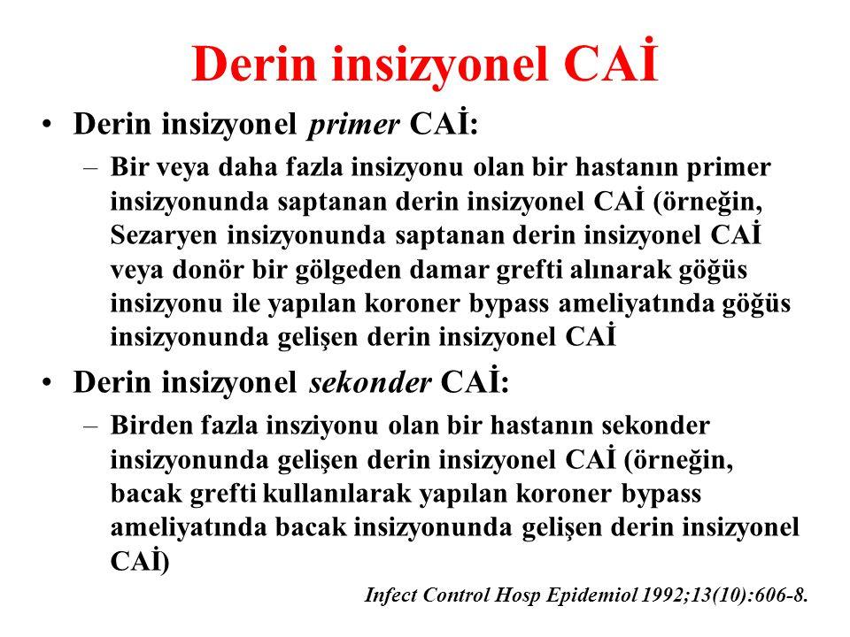 Derin insizyonel CAİ Derin insizyonel primer CAİ: