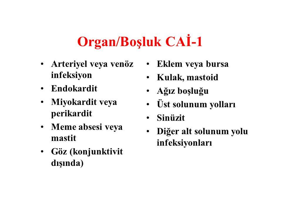 Organ/Boşluk CAİ-1 Arteriyel veya venöz infeksiyon Endokardit