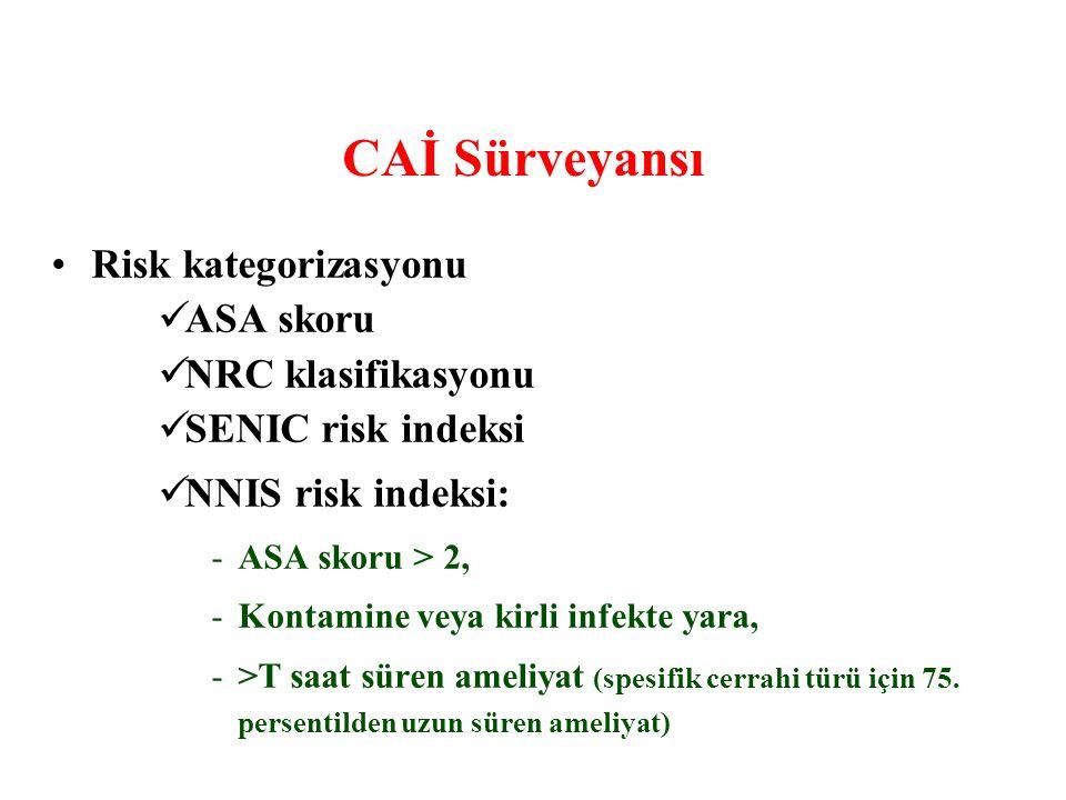 CAİ Sürveyansı Risk kategorizasyonu ASA skoru NRC klasifikasyonu