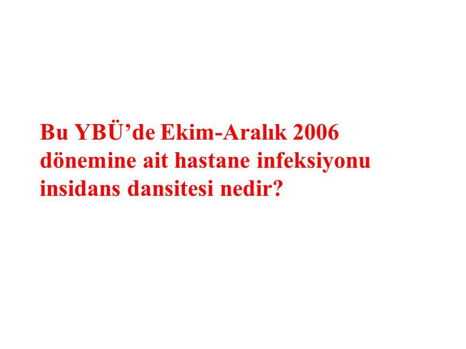 Bu YBÜ'de Ekim-Aralık 2006 dönemine ait hastane infeksiyonu insidans dansitesi nedir
