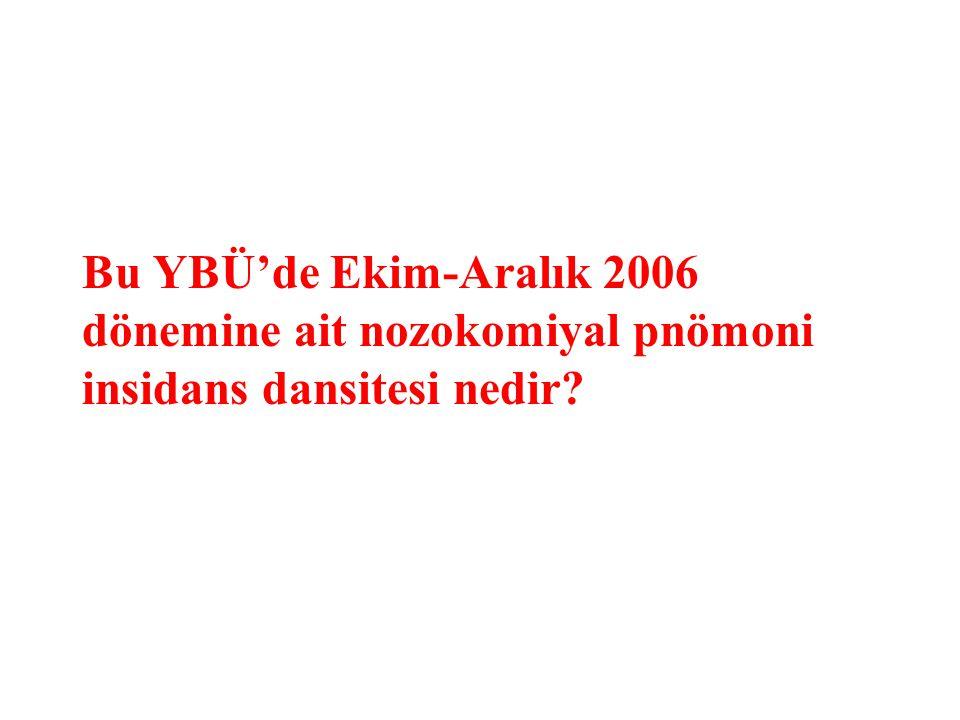 Bu YBÜ'de Ekim-Aralık 2006 dönemine ait nozokomiyal pnömoni insidans dansitesi nedir
