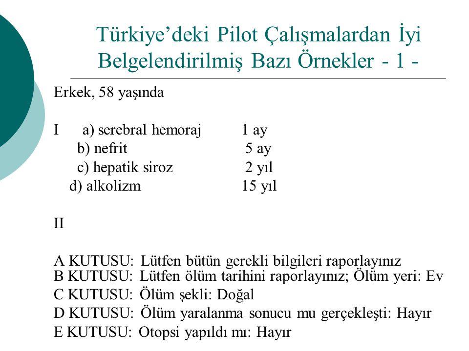 Türkiye'deki Pilot Çalışmalardan İyi Belgelendirilmiş Bazı Örnekler - 1 -