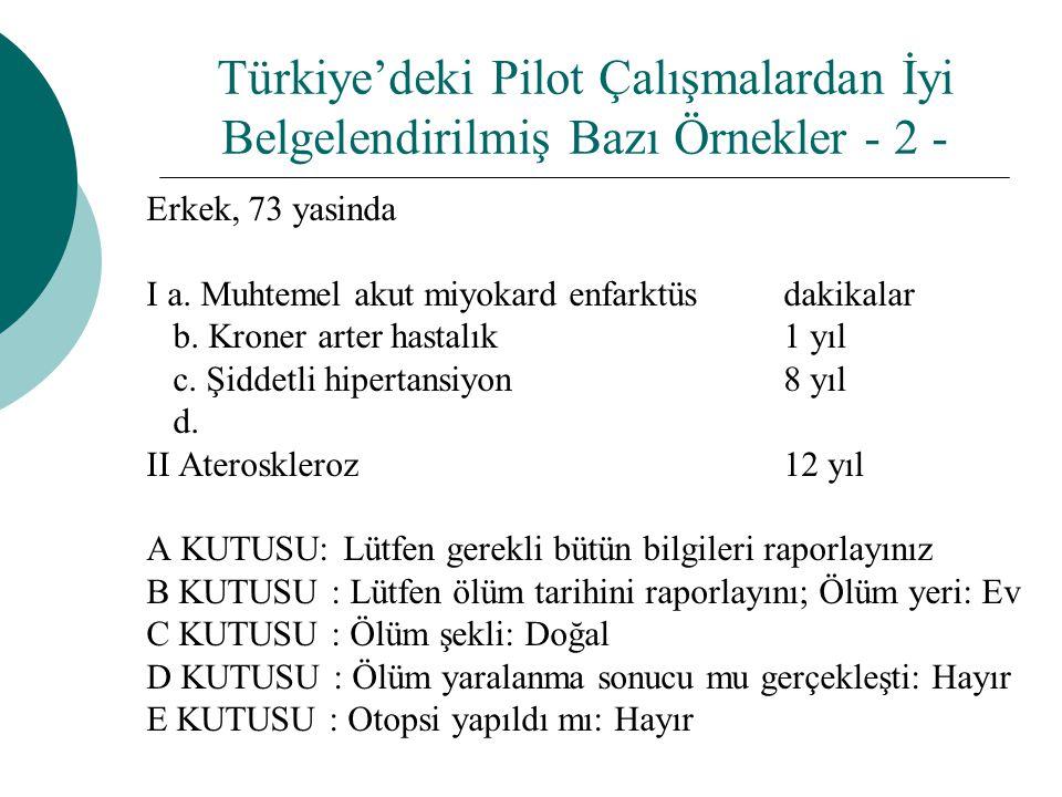 Türkiye'deki Pilot Çalışmalardan İyi Belgelendirilmiş Bazı Örnekler - 2 -