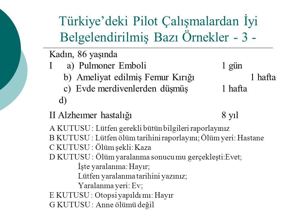 Türkiye'deki Pilot Çalışmalardan İyi Belgelendirilmiş Bazı Örnekler - 3 -