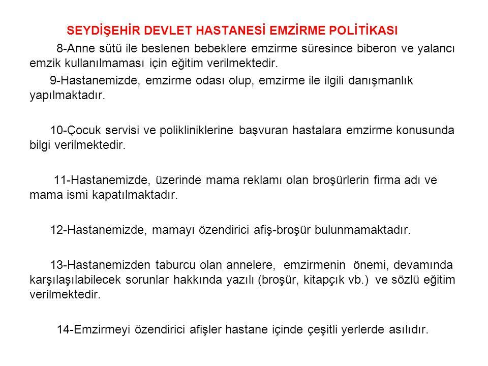SEYDİŞEHİR DEVLET HASTANESİ EMZİRME POLİTİKASI