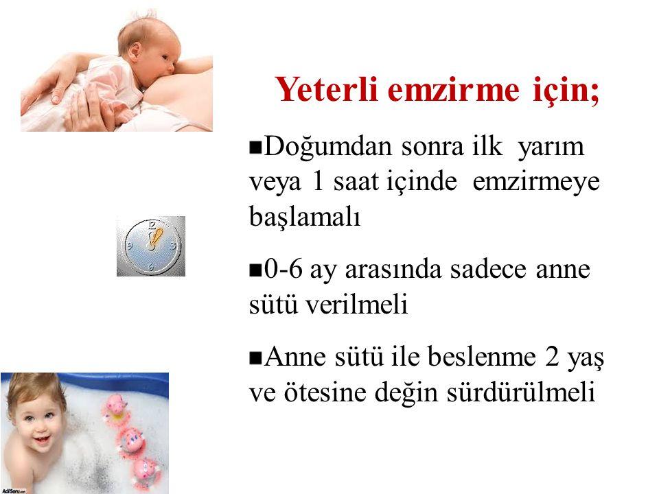 Yeterli emzirme için; Doğumdan sonra ilk yarım veya 1 saat içinde emzirmeye başlamalı. 0-6 ay arasında sadece anne sütü verilmeli.