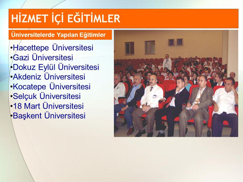 HİZMET İÇİ EĞİTİMLER Hacettepe Üniversitesi Gazi Üniversitesi