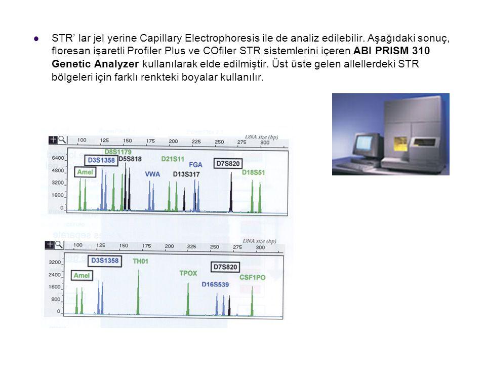 STR' lar jel yerine Capillary Electrophoresis ile de analiz edilebilir