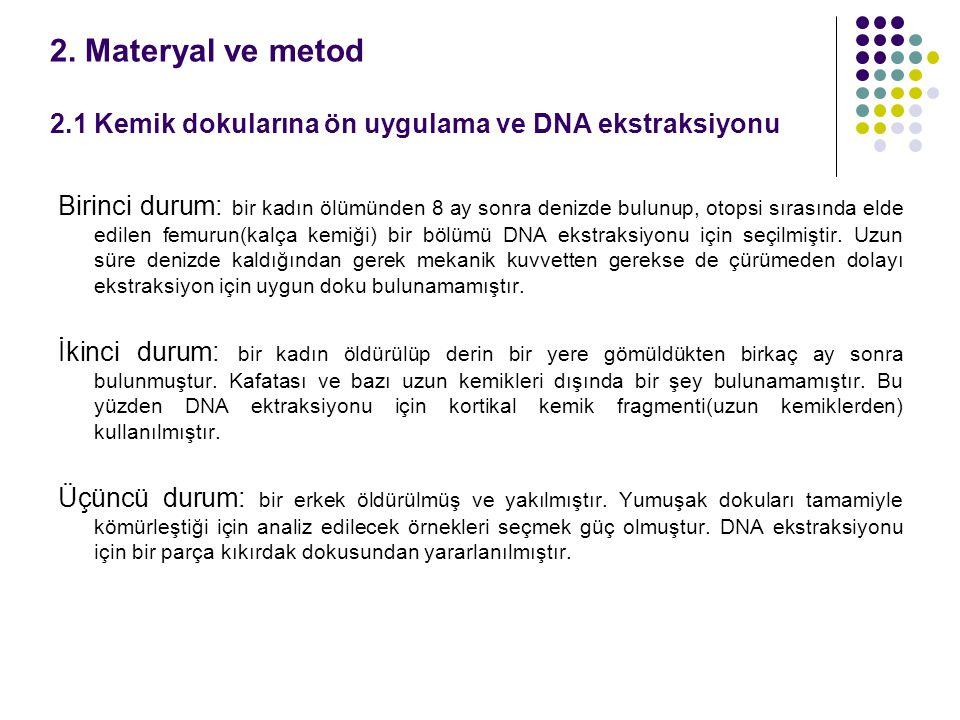 2. Materyal ve metod 2.1 Kemik dokularına ön uygulama ve DNA ekstraksiyonu