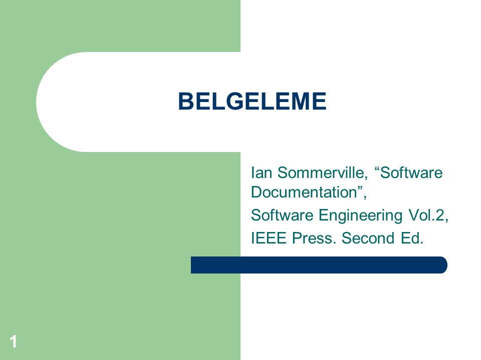 BELGELEME Ian Sommerville, Software Documentation ,