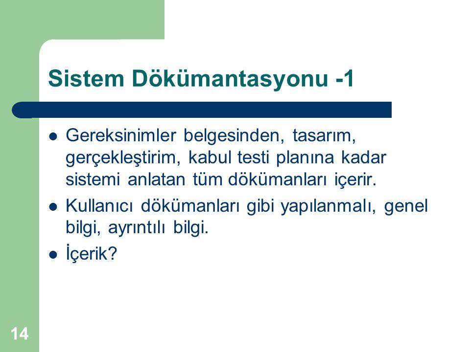 Sistem Dökümantasyonu -1