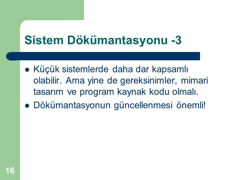 Sistem Dökümantasyonu -3