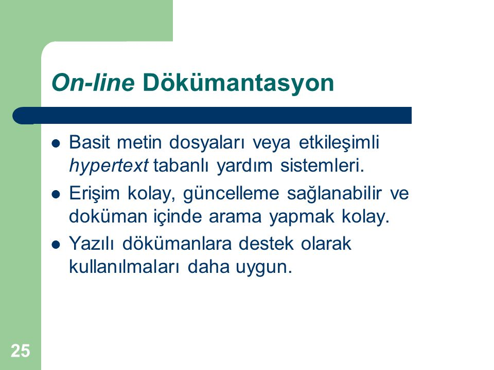 On-line Dökümantasyon