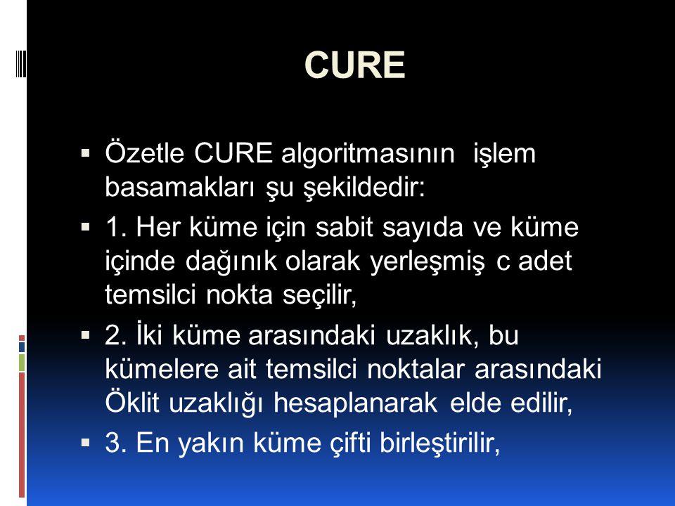 CURE Özetle CURE algoritmasının işlem basamakları şu şekildedir: