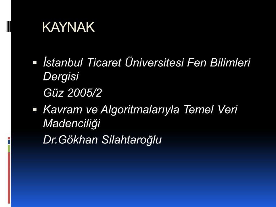 KAYNAK İstanbul Ticaret Üniversitesi Fen Bilimleri Dergisi Güz 2005/2