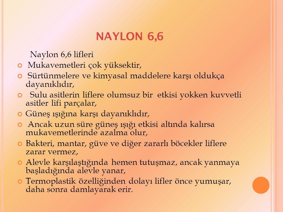 NAYLON 6,6 Naylon 6,6 lifleri Mukavemetleri çok yüksektir,