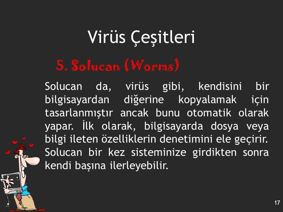 Virüs Çeşitleri 5. Solucan (Worms)
