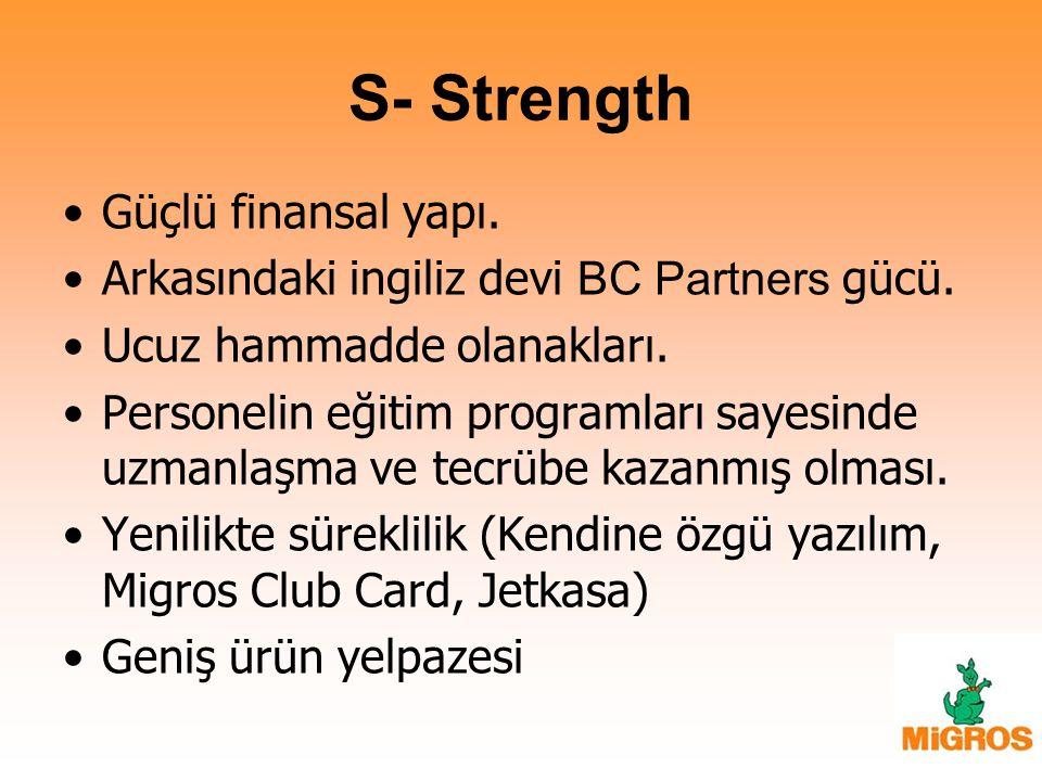 S- Strength Güçlü finansal yapı.