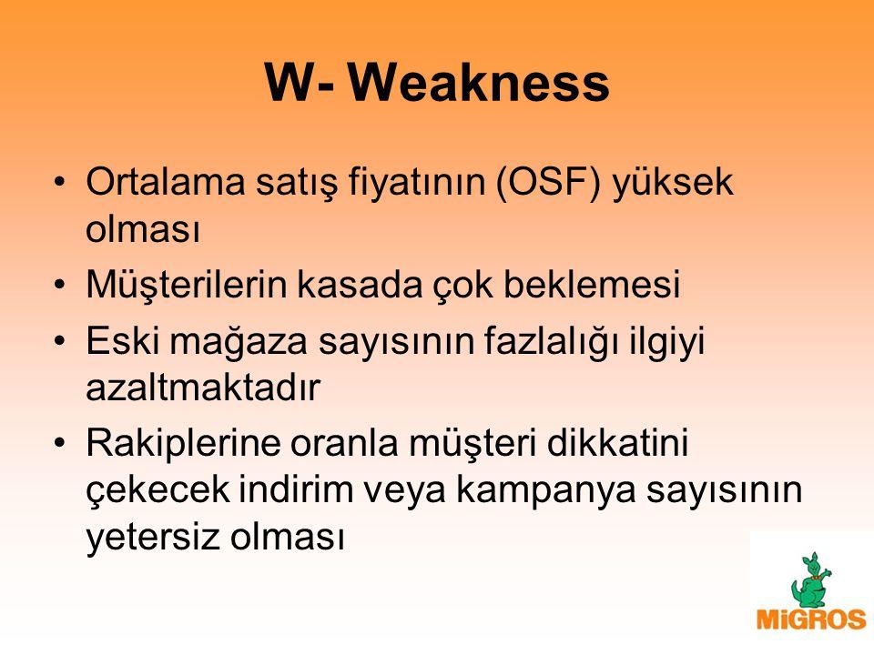 W- Weakness Ortalama satış fiyatının (OSF) yüksek olması