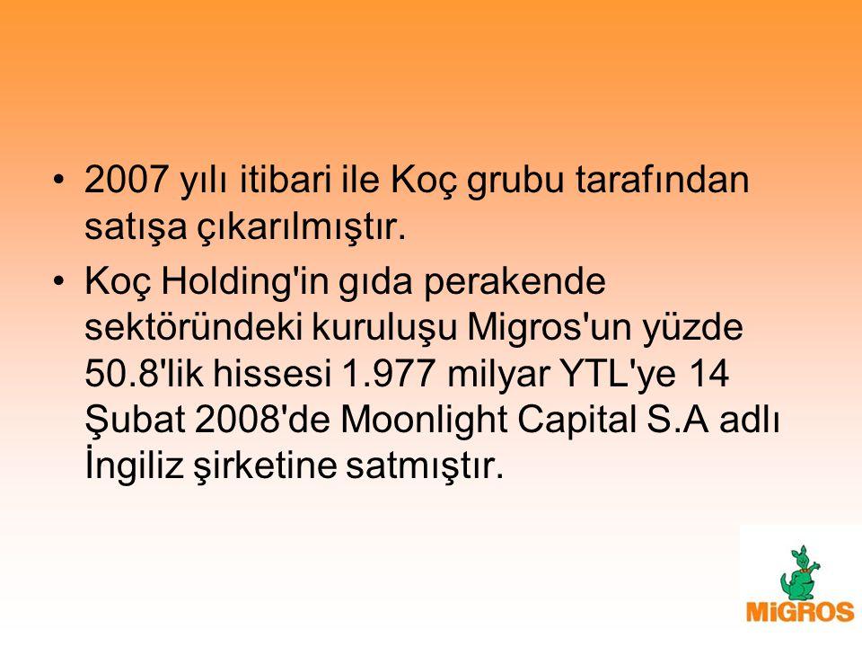 2007 yılı itibari ile Koç grubu tarafından satışa çıkarılmıştır.
