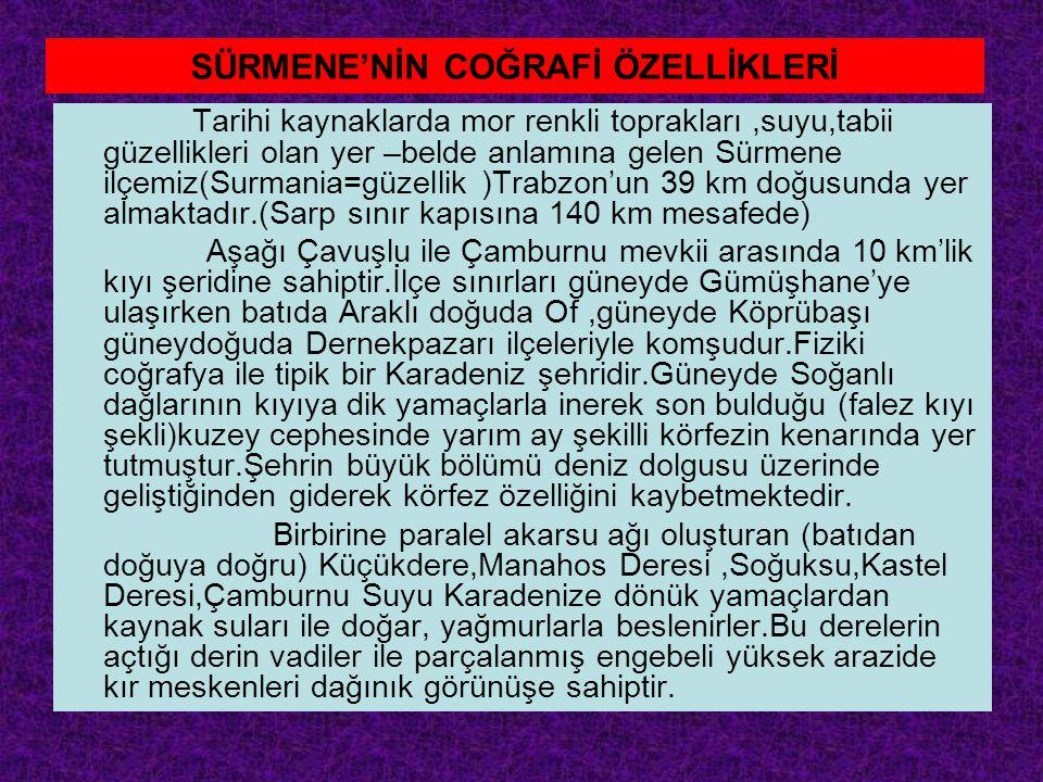 SÜRMENE'NİN COĞRAFİ ÖZELLİKLERİ