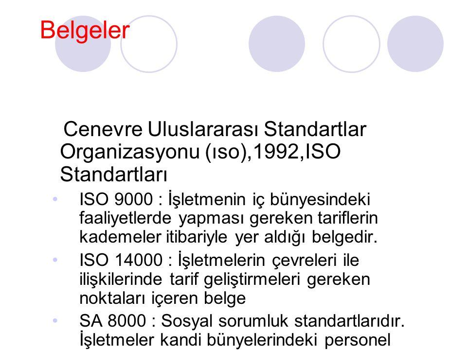 Belgeler Cenevre Uluslararası Standartlar Organizasyonu (ıso),1992,ISO Standartları.