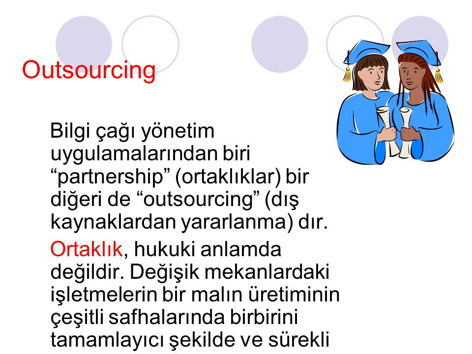 Outsourcing Bilgi çağı yönetim uygulamalarından biri partnership (ortaklıklar) bir diğeri de outsourcing (dış kaynaklardan yararlanma) dır.